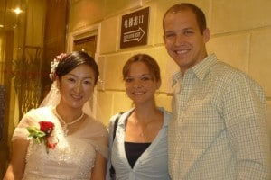 Josh, Tiff, and a Chinese bride in her white dress