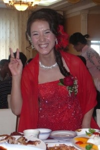 A Chinese bride in her red wedding dress
