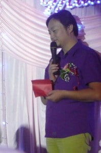 The emcee at a Chinese wedding in Xinjiang