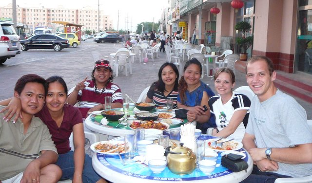 Eating at an outdoor Uyghur restaurant