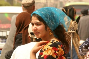 A Uyghur woman on the streets of Xinjiang
