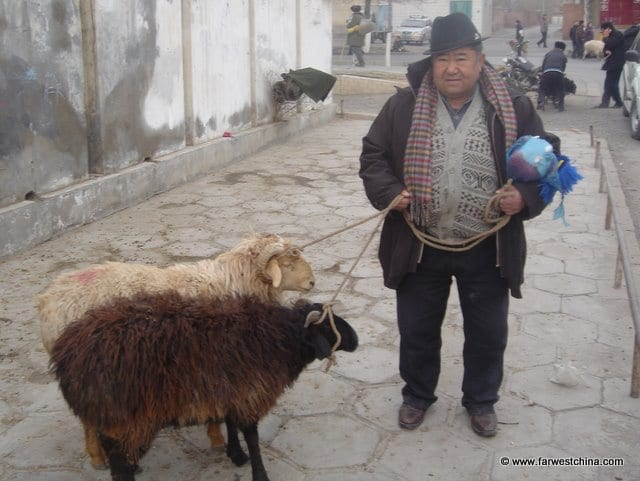 A Uyghur man buys sheep to slaughter for Corban
