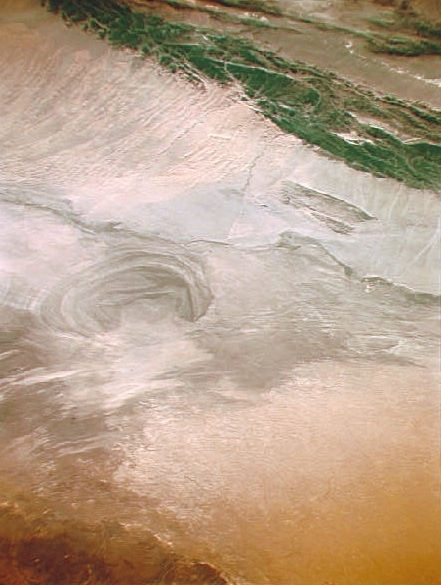 A satellite image of Lop Nor