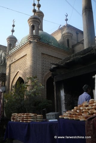 A Uyghur bread stand in Kashgar