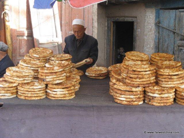 Stacks of flat Uyghur bread