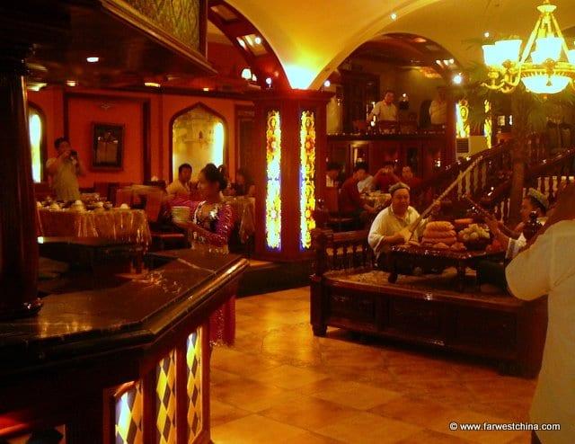 Inside a Uyghur restaurant