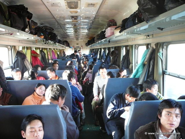 The packed hard seat car in the China train