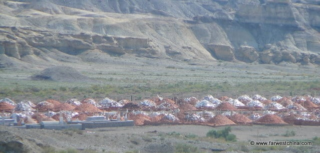 Modern Uyghur tombs in the Xinjiang, China desert