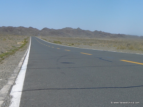 A long desert highway in Xinjiang, China