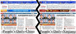 Differences in People's Daily in Xinjiang and China