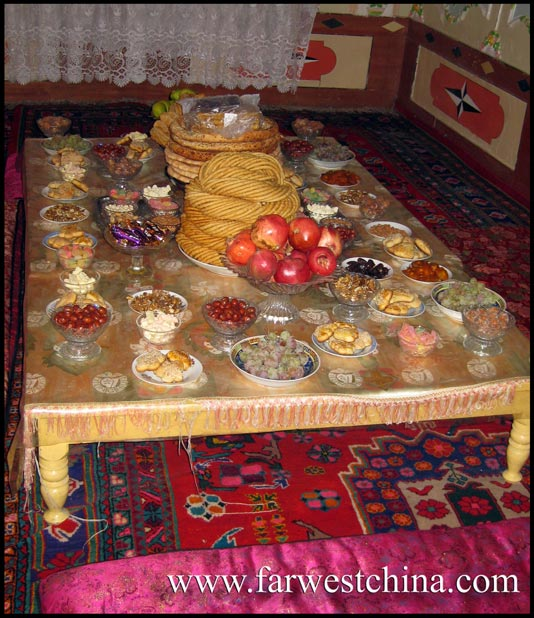 A Uyghur dining room table