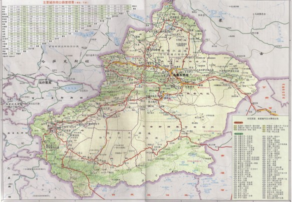 A Xinjiang Road map in Chinese