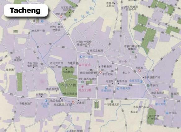 A Chinese road map of Tacheng, Xinjiang