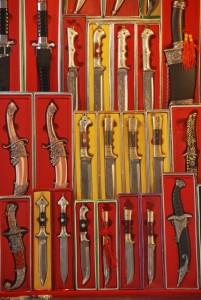 "A display of Uyghur knives, or ""Yengisar Knives"""