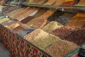 A cart full of raisins and nuts in Xinjiang, China