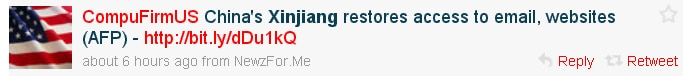Twitter message claiming internet in Xinjiang is restored.