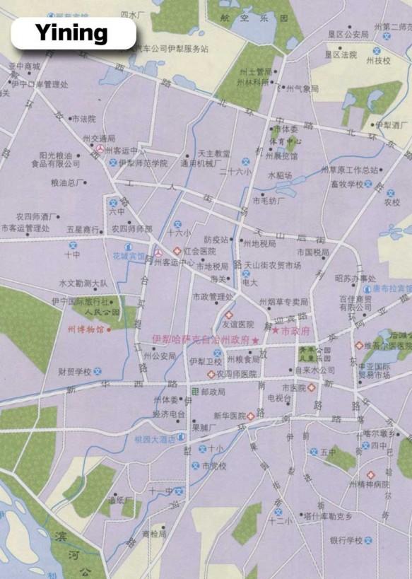 A Chinese road map of Yining (Yili)