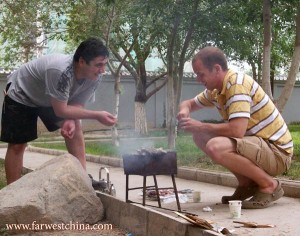 My Uyghur friend teaches me the art of making kebabs