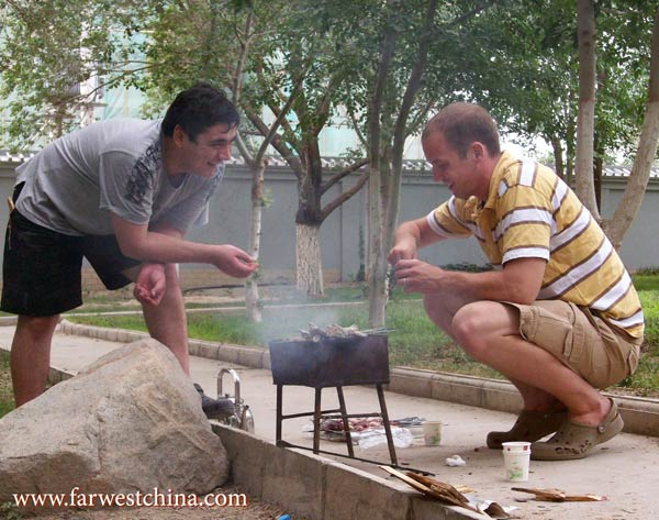 My Uyghur friend teaches me the art of making kebabs