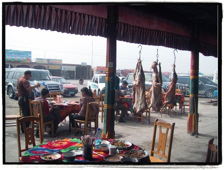 A restaurant on the side of a Xinjiang, China highway
