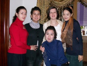 Uyghur women, including the bride on the far right