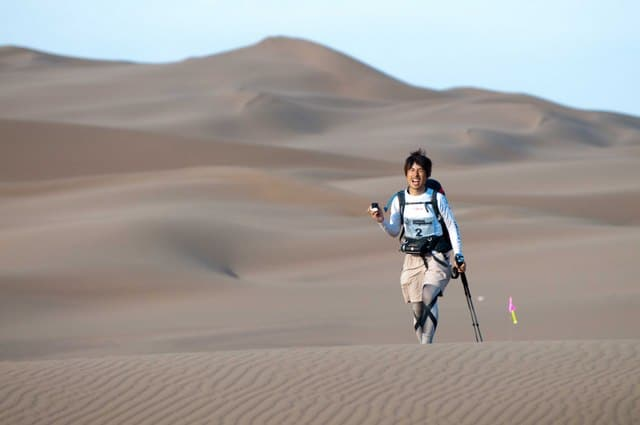 A Japanese competitor in the Gobi March 2010