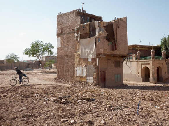 A single home stands in demolished parts of Kashgar's Old City