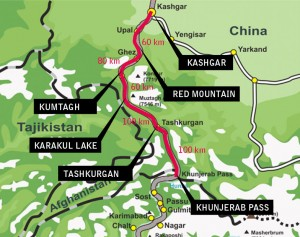 A map of the Xinjiang trip along the Karakoram Highway (KKH)