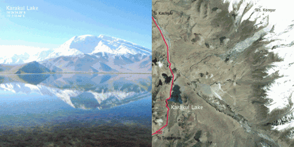 A geological map and picture of Karakul Lake in Xinjiang