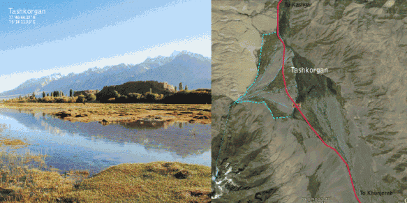 A photo and map of Tashkorgan in Xinjiang, China