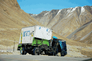 A truck broken down on the KKH in Xinjiang, China