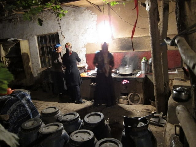 A Uyghur homestay makes dinner in Xinjiang, China