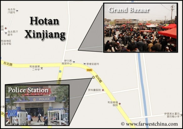 A map detailing the Hotan Riot on 7/18/2011
