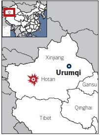 A map of Hotan in the Chinese province of Xinjiang