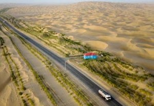 The Taklamakan Highway from Khotan to Aksu in Xinjiang, China