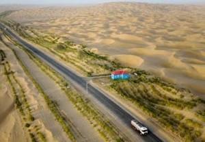 The Taklamakan Highway from Khotan to Aksu in Xinjiang, China