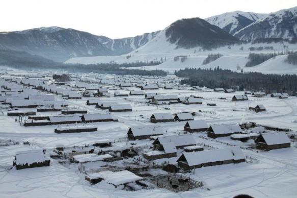 Xinjiang's Hemu village during the winter