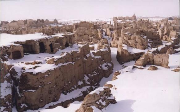 Turpan's Jiaohe ruins in Xinjiang during the winter