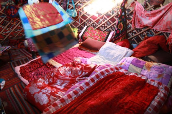 A view inside a yurt in Xinjiang, China