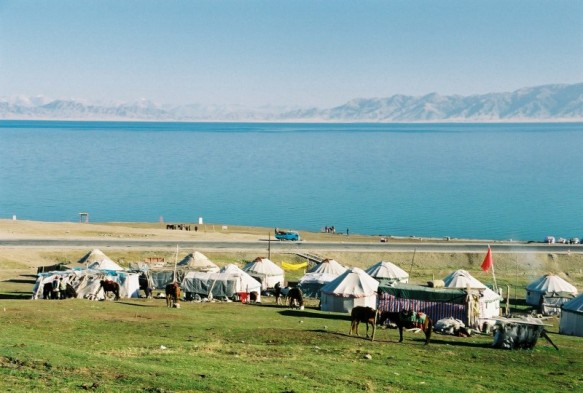 A line of yurts at Salimu Lake in Xinjiang, China