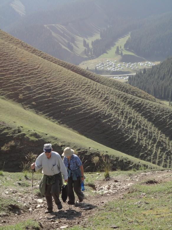 Two travelers hiking the NanShan in Xinjiang, China
