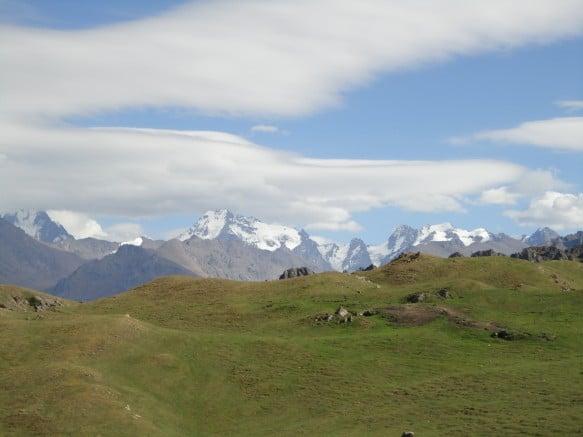 Beautiful grasslands and mountains at Heavenly Lake in Xinjiang, China
