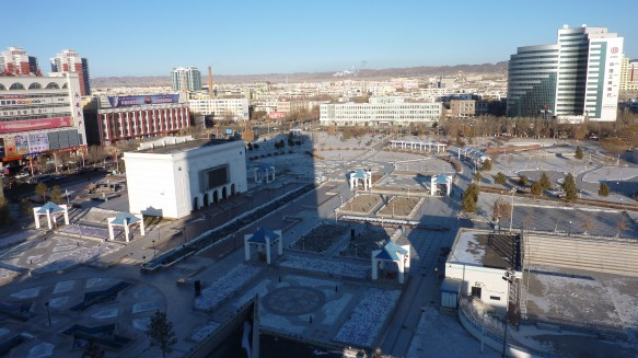 The People's Square in Karamay, a town in Xinjiang, China