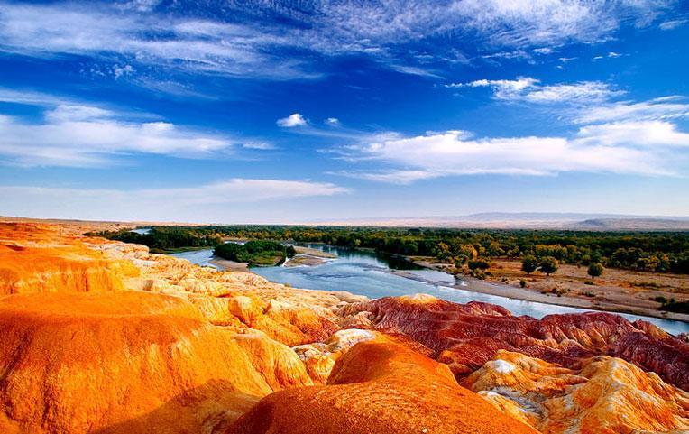 The beautiful 5-colored hills, or Rainbow Beach of Xinjiang, China