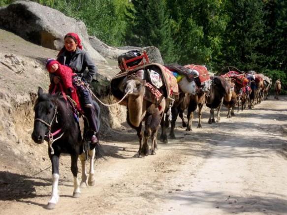 A nomadic Kazakh family from Keketuohai moves camp