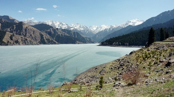 Urumqi's Heavenly lake in Xinjiang, frozen