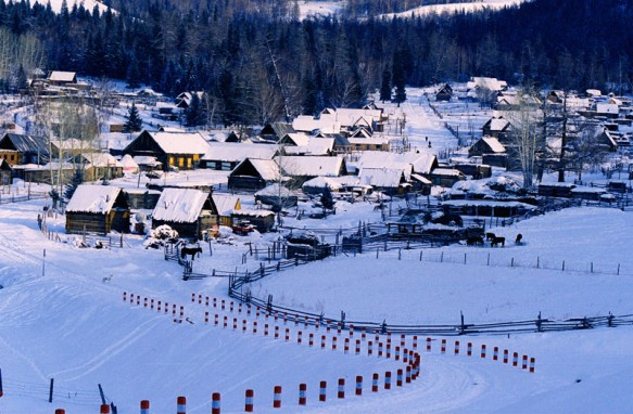 Hemu Village in norther Xinjiang during the winter