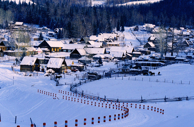 Hemu Village in norther Xinjiang in winter