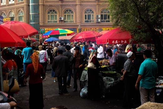 The busy streets of Kashgar's night market in Xinjiang, China