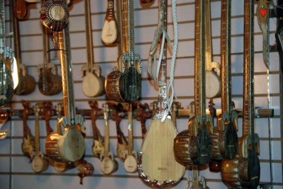 An instrument shop at Urumqi's International Grand Bazaar